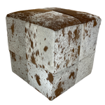 "Cowhide Cube, White and Brown Salt & Pepper - 17"" (CUBE010)"