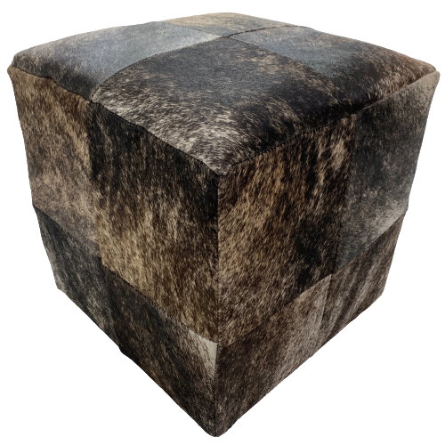 "Cowhide Cube, Brown, Tan, Black, White Brindle - 17"" (CUBE012)"