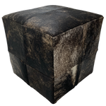 "Cowhide Cube, Black, Tan, Brown Brindle - 17"" (CUBE015)"