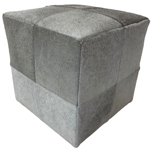 "Cowhide Cube, Grey and White - 17"" (CUBE016)"