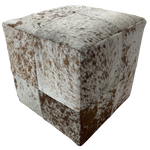 "Cowhide Cube, White and Brown Salt & Pepper - 17"" (CUBE017)"