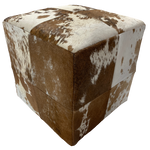 "Cowhide Cube, Red Brown and White - 17"" (CUBE018)"
