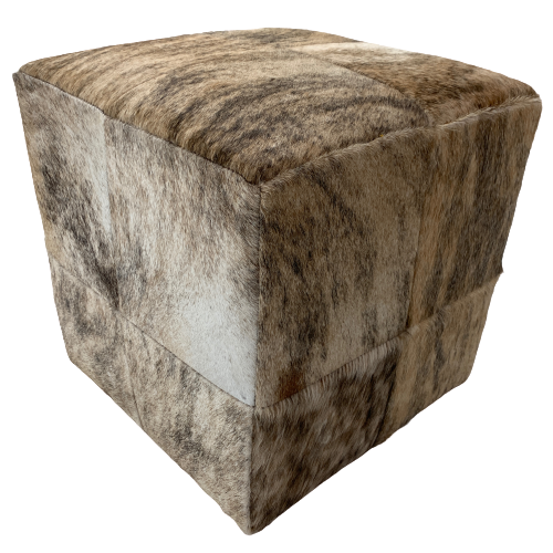 "Cowhide Cube, Tan and Brown Brindle - 17"" (CUBE019)"