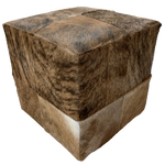 "Cowhide Cube, Two-Tone Brown Brindle - 17"" (CUBE020)"