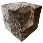 "Cowhide Cube, Chocolate Brown and White Salt & Pepper - 17"" (CUBE021)"