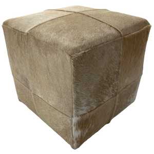 Cowhide Cube, Blonde and White