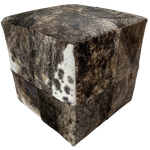 "Cowhide Cube, Black and Brown Brindle - 17"" (CUBE023)"