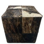 "Cowhide Cube - Black, Brown, White Brindle - 17"" (CUBE024)"