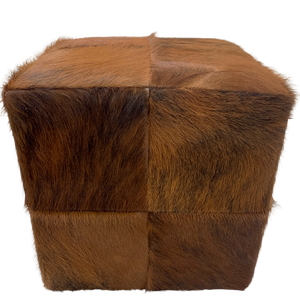 "Cowhide Cube - Red Brown Brindle - 17"" (CUBE027)"