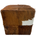 "Cowhide Cube - Red Brown Brindle, touch of white - 17"" (CUBE027)"