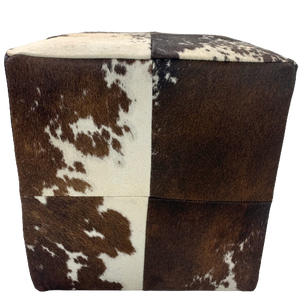"Cowhide Cube - Brown and White - 17"" (CUBE028)"