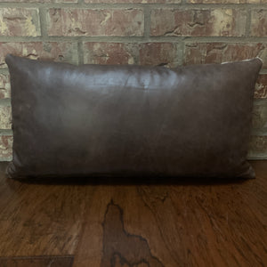 "Lumbar Pillow - showing Distressed Brown Leather side - 24"" x 12"" (LPIL002)"