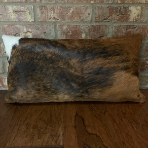 "Lumbar Pillow - showing Red Brown and Black Brindle Cowhide side - 24"" x 12"" (LPIL002)"