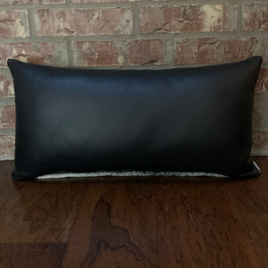 "Lumbar Pillow -  Black Leather Back - 24"" x 12"" (LPIL003)"
