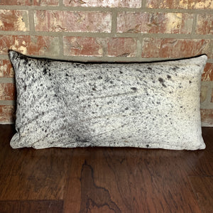 "Lumbar Pillow - Black and White Salt & Pepper Cowhide - 24"" x 12"" (LPIL003)"