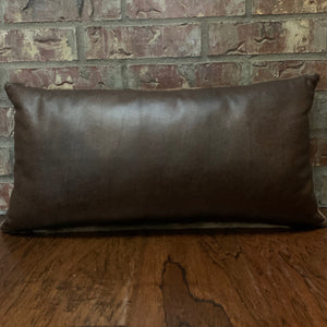 "Lumbar Pillow -  Two Tone Brown Pebble Leather - 24"" x 12"" (LPIL009)"