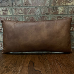 "Lumbar Pillow - Two Tone Brown Leather - 24"" x 12"" (LPIL010-2)"
