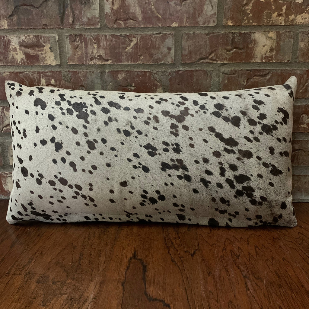 "Lumbar Pillow - Off-White Cowhide with Brown Acid Wash - 24"" x 12"" (LPIL012-1)"