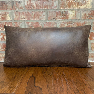 "Lumbar Pillow - Two Tone Brown Leather - 24"" x 12"" (LPIL017)"