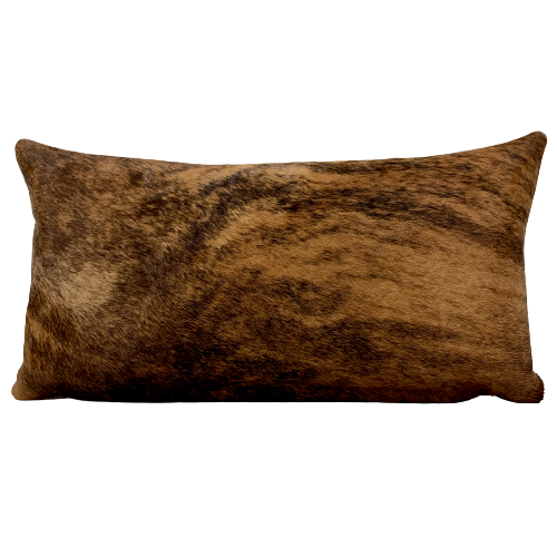 "Lumbar Pillow - Reddish Brown and Black Brindle Cowhide - 24"" x 12"" (LPIL019)"