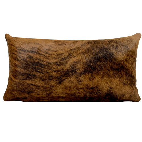 "Lumbar Pillow - Reddish Brown and Black Brindle Cowhide - 24"" x 12"" (LPIL020)"