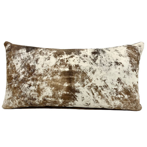 "Lumbar Pillow - Two Tone Brown and Off-White Distressed Leather - 24"" x 12"" (PIL021)"