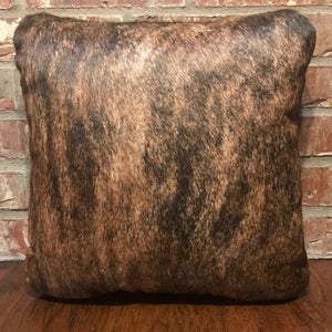 16 x 16 medium brindle cowhide pillow