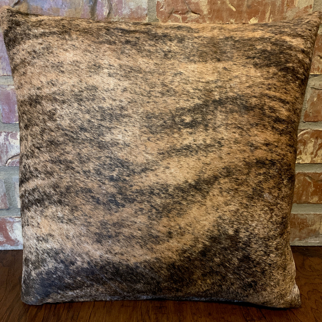 "18"" x 18"" cowhide pillow, Black and tan brindle cowhide on one side and brown leather on the other side"