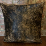 "18"" x 18"" cowhide pillow, black and tan brindle cowhide with two-tone brown leather back"
