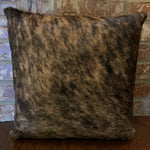 "18"" x 18"" cowhide pillow, black and tan brindle cowhide with two-tone leather back"