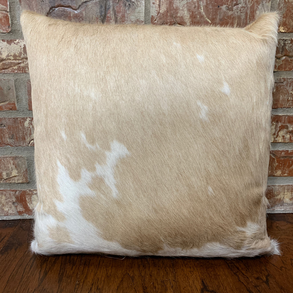 "Tan and White cowhide pillow - 18""x 18"" (PIL039)"