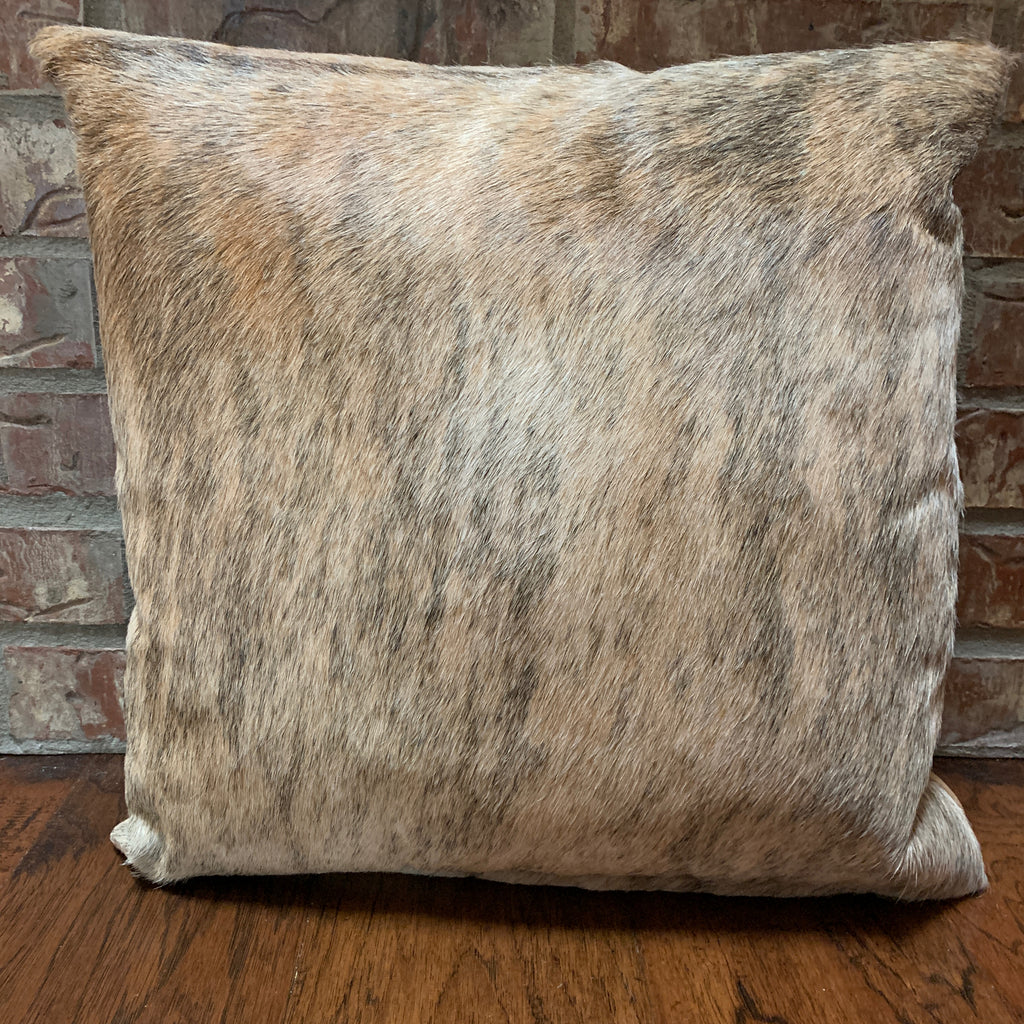 "Tan and Black Brindle Cowhide Pillow - 18"" x 18"" (PIL046)"