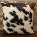 "White, Black, and Brown Tricolor Cowhide Pillow w/ Two Tone Brown Leather Back - 18"" x 18"" (PIL051)"