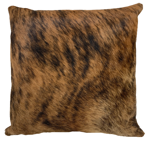 "Reddish Brown and Black Brindle Cowhide Pillow - 18"" x 18"" (PIL064)"