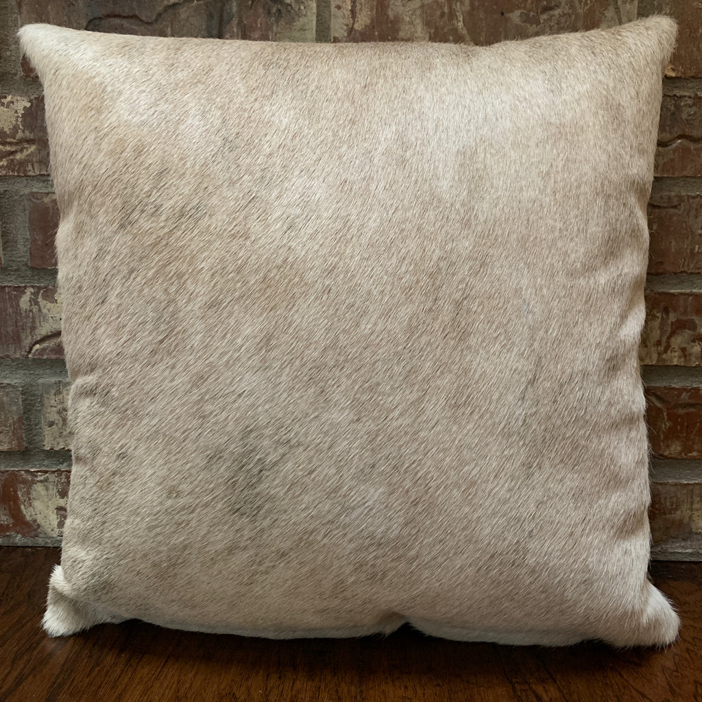 "Off-White and Tan Brindle Cowhide Pillow - 18"" x 18"" (PIL067)"