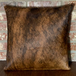 "Brown and Black Brindle Cowhide Pillow w/ Two Tone Brown Brown Leather Back - 18"" x 18"" (PIL069)"