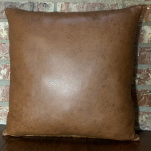 "Two Tone Brown Brown Leather Back - 18"" x 18"" (PIL069)"