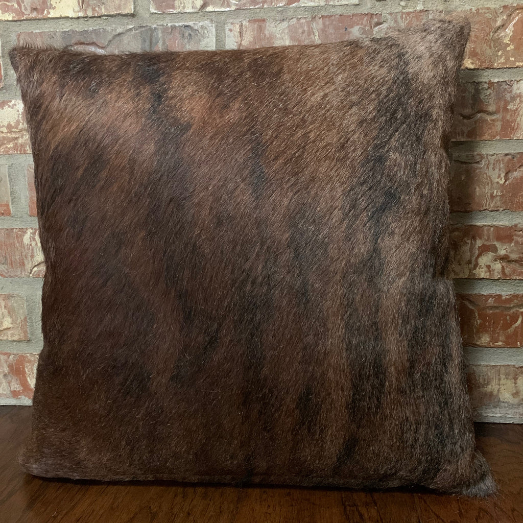 "Brown and Black Dark Brindle Cowhide Pillow -18"" x 18"" (PIL072)"