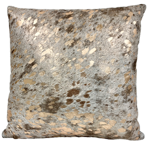 "Gold Acid Wash on Brown and White Salt & Pepper Cowhide Pillow - 18"" x 18"" (PIL089)"