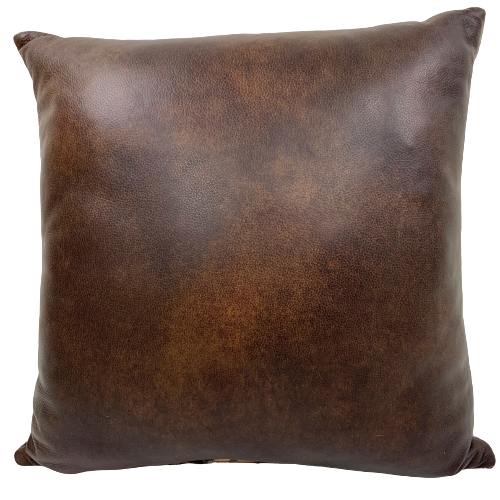 "Two Tone Brown Leather Pillow - 18"" x 18"" (PIL089)"