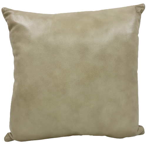 "Two Tone Light Beige Leather Pillow - 18"" x 18"" (PIL091)"