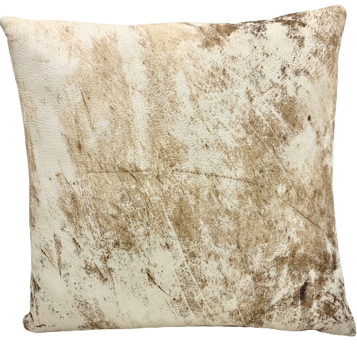 "Brown, Tan, Cream, Off-White Distressed Leather Pillow - 18"" x 18"" (PIL092)"
