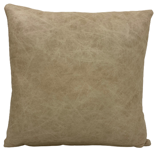 "Brown, Tan, Cream, Off-WhDistressed Vanilla Leather Pillow- 18"" x 18"" (PIL092)"