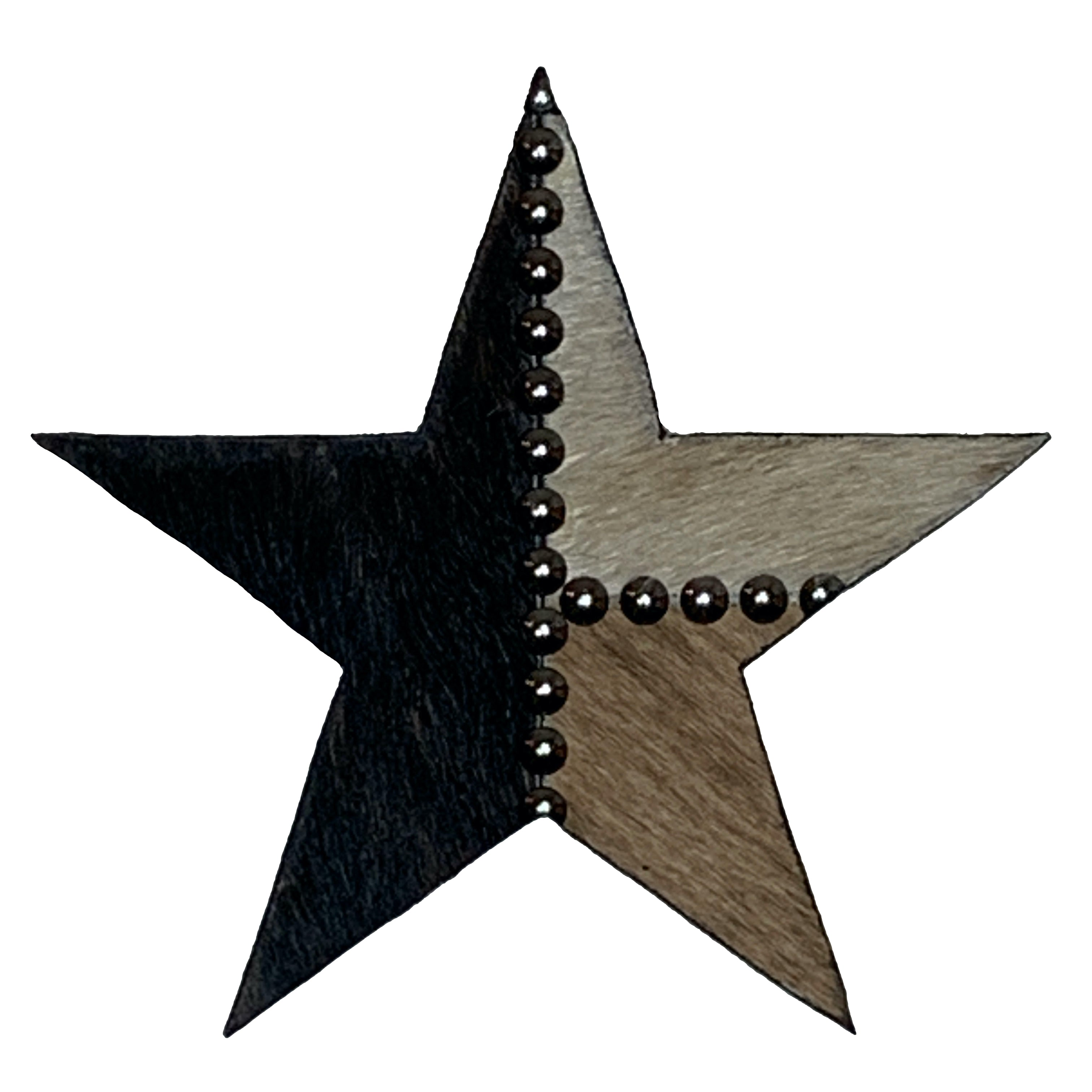 "8"" wood star, covered in black, tan and beige cowhide"