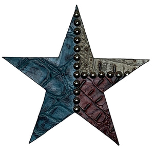 "8"" wood star covered in dark red, tan, and turquoise embossed leather"