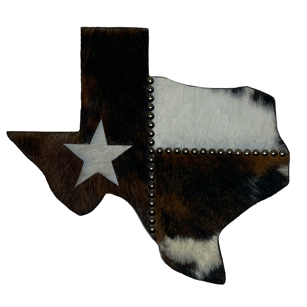 "14"" Texas wall hanging covered in black, brown and white cowhide, with a white star"