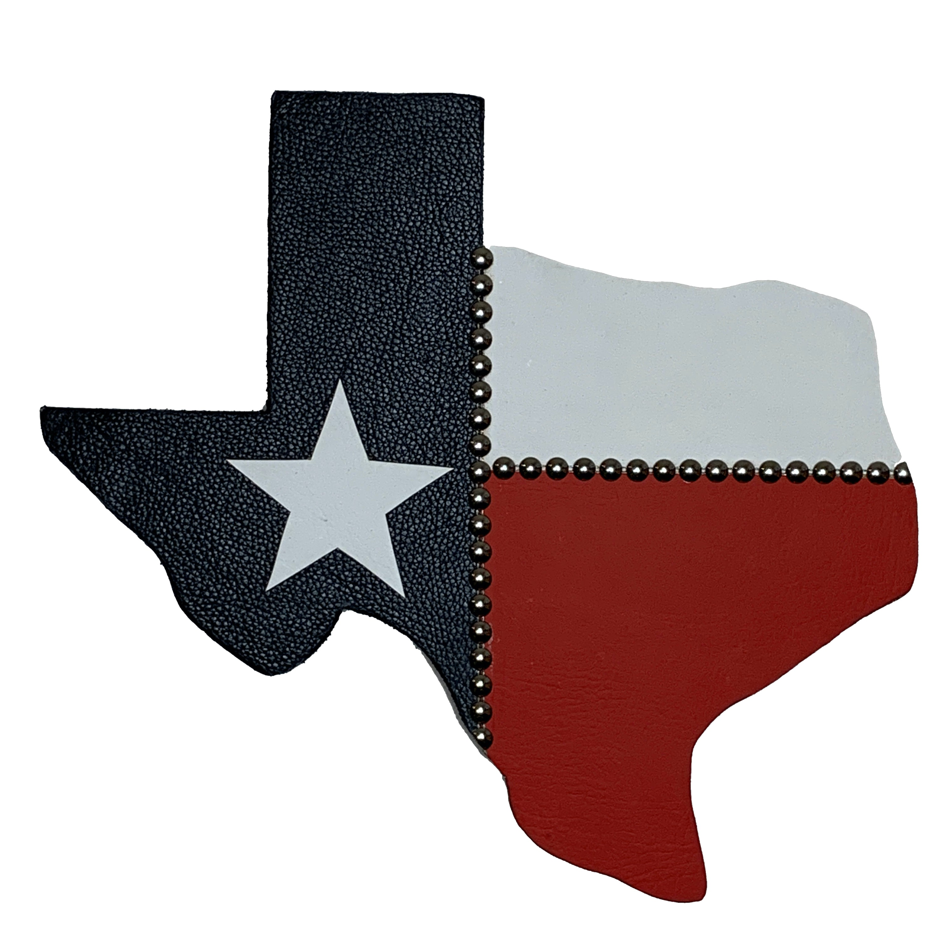 "14"" Texas wall hanging in red, white and blue with a white star"