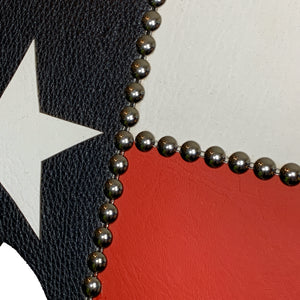 "14"" Texas wall hanging in red, white and blue, with a white star"