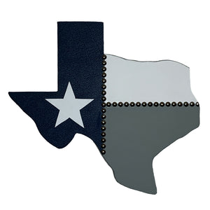 "14"" Texas wall hanging in blue, grey and white leather with a white star"