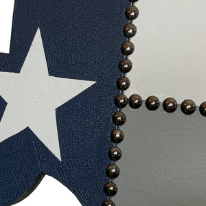 "14"" Texas wall hanging in blue, white and grey leather with a white star"